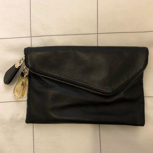 Henri Bendel Black Leather Clutch